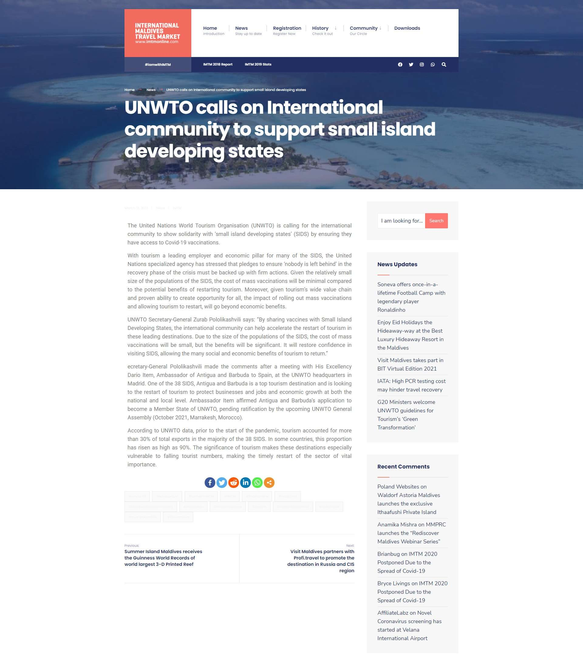 UNWTO calls on International community to support small island developing states